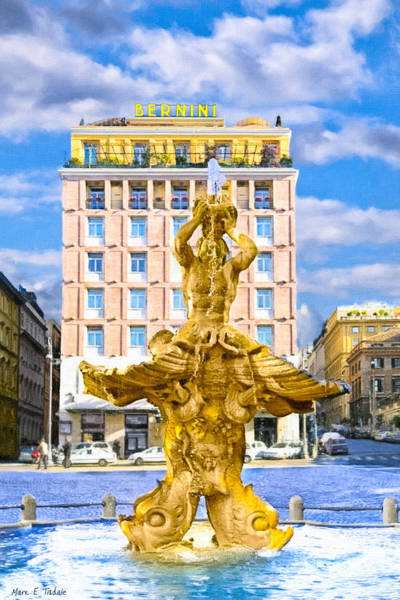 Photograph - Bernini's Triton Fountain In Piazza Barberini by Mark E Tisdale