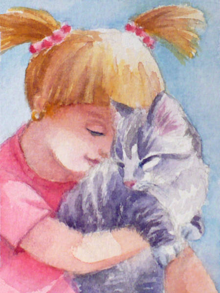 Painting - Kitten And A Little Girl by Janet Zeh