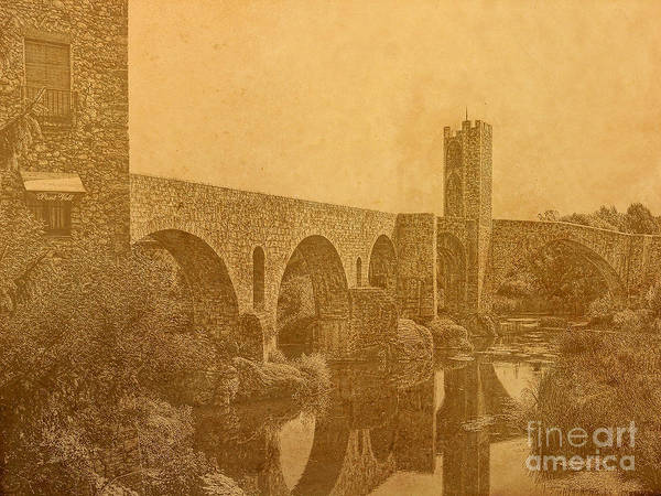 Besalu Bridge Art Print