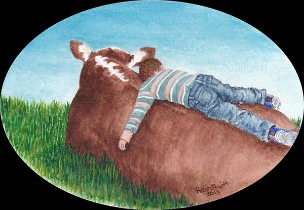 Hereford Bull Painting - Best Buddies by Robin Pruitt