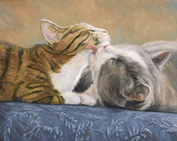 Domestic Cat Wall Art - Painting - Best Friends by Lucie Bilodeau