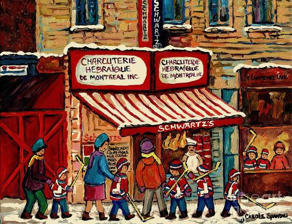 Painting - Best Selling Original Montreal Paintings For Sale After The Hockey Game At Schwart's Deli Cspandau by Carole Spandau