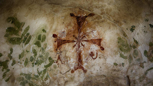 Stucco Wall Art - Photograph - Bet She'an Baptistery Cross by Stephen Stookey