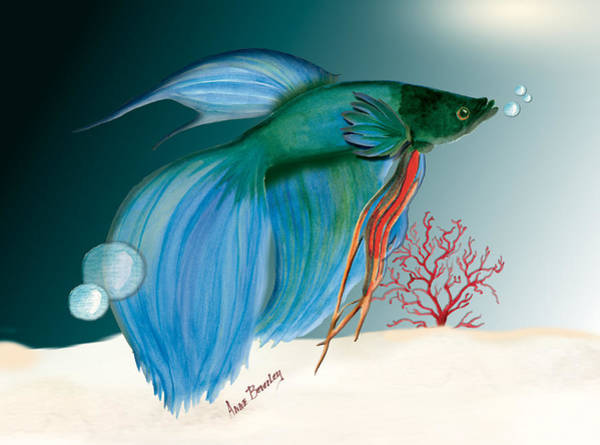 Painting - Beta Fish by Anne Beverley-Stamps