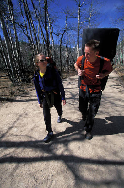 Tree Climbing Photograph - Beth Rodden And Tommy Caldwell Walk by Corey Rich