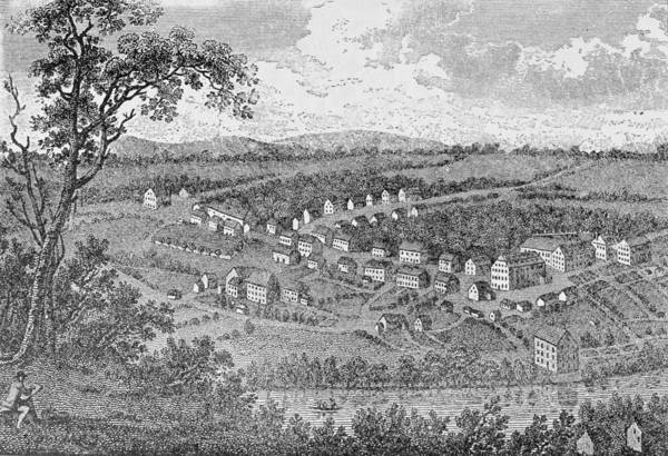 Bethlehem Drawing - Bethlehem, A Moravian Settlement In Pennsylvania, From The Pageant Of America by American School