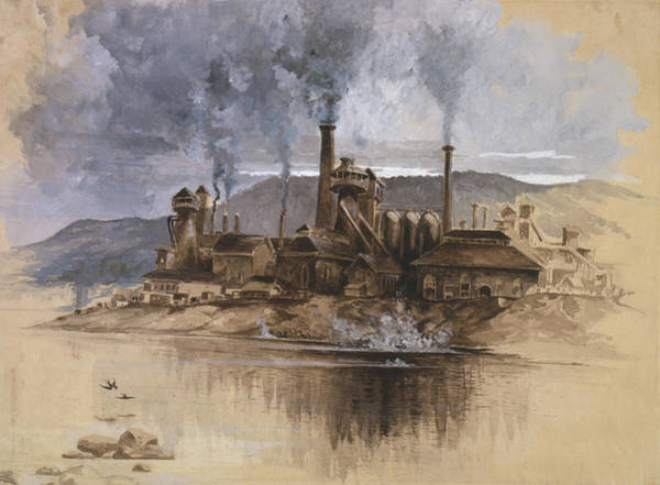 Riverbank Painting - Bethlehem Steel Corporation Circa 1881 by Aged Pixel