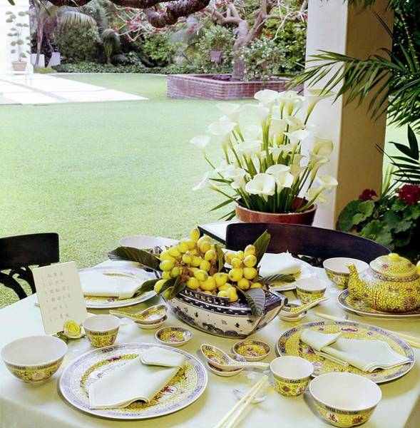 Front Yard Photograph - Betsy Bloomingdale's Dining Table by Horst P. Horst