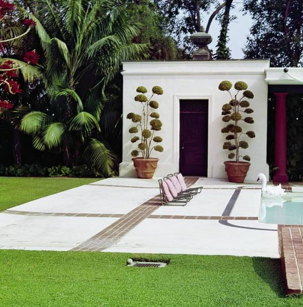 Front Yard Photograph - Betsy Bloomingdale's Patio by Horst P. Horst