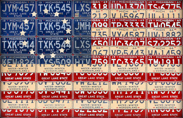 Wall Art - Mixed Media - Betsy Ross American Flag Michigan License Plate Recycled Art On Red Board by Design Turnpike