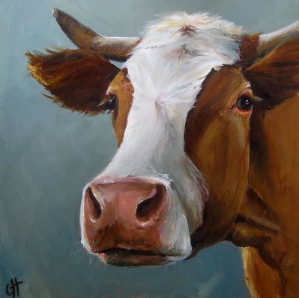 Barnyard Animal Painting - Betsy The Cow by Cari Humphry