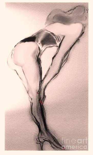 Female Nude Digital Art - Bette Showgirl by Carolyn Weltman