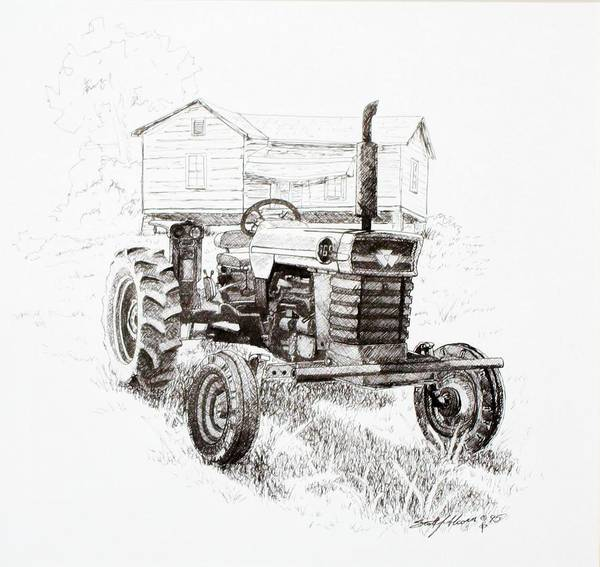 Old Tractor Drawing - Better Days by Scott Alcorn