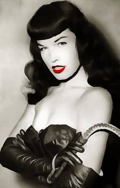 Wall Art - Painting - Bettie Page Red Lipstick by Dan Sproul