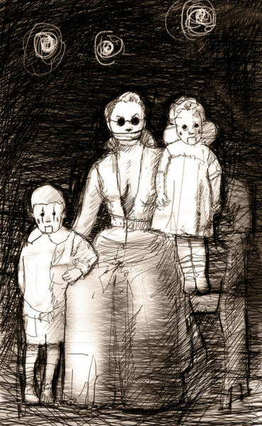 Punk Drawing - Bettina And The Twins by H James Hoff