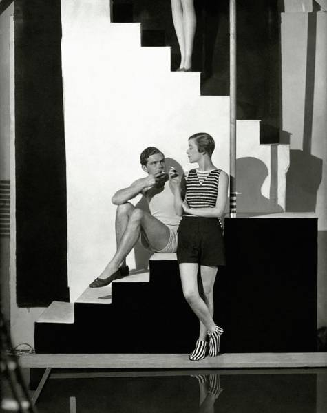 Boots Photograph - Bettina Jones Posing With A Male Model by George Hoyningen-Huene