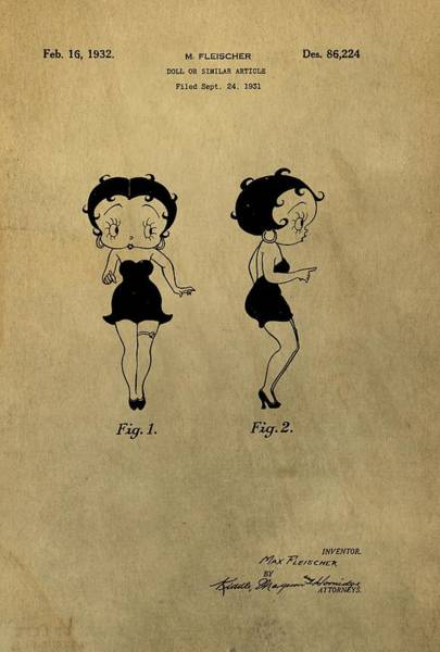 Drawing - Betty Boop Design Patent by Dan Sproul
