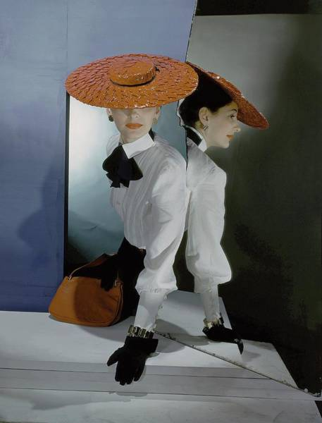 Mirror Photograph - Betty Mclauchlen Wearing A Hat And Blouse by Horst P. Horst