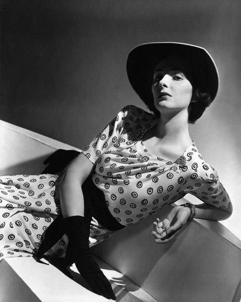 Photograph - Betty Mclauchlen Wearing A Patterned Dress by Horst P. Horst