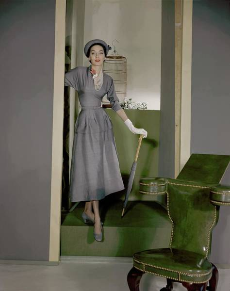 Threat Photograph - Betty Pulcer Threat Wearing A Grey Suit by Horst P. Horst