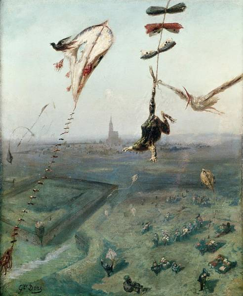 Flying Kite Photograph - Between Heaven And Earth, 1862 Oil On Canvas by Gustave Dore
