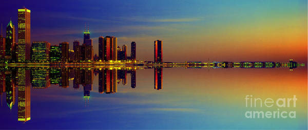 Between Night And Day Chicago Skyline Mirrored Art Print