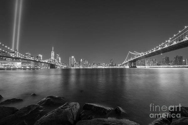 Liberty Bridge Photograph - Between The Bridges Bnw by Michael Ver Sprill