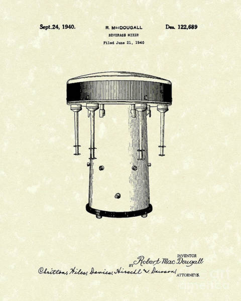 Drawing - Beverage Mixer 1940 Patent Art by Prior Art Design