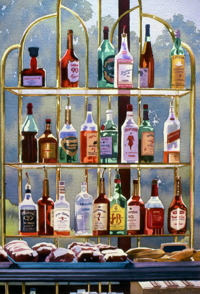Whiskey Wall Art - Painting - Beverly Hills Bottlescape by Mary Helmreich