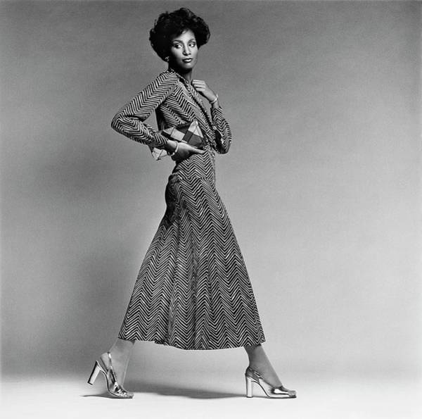 February 1st Photograph - Beverly Johnson Wearing A Chevron Striped Dress by Francesco Scavullo