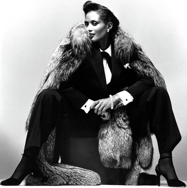 Silver Photograph - Beverly Johnson Wearing A Pantsuit And Fur Coat by Albert Watson