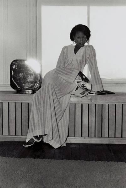 Photograph - Beverly Johnson Wearing A Striped Caftan by Kourken Pakchanian
