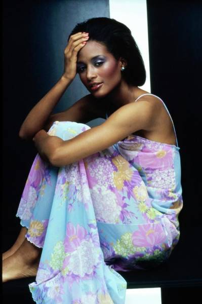 Wall Art - Photograph - Beverly Johnson Wearing An Olga Nightgown by Bob Stone