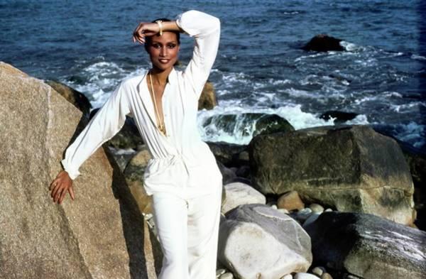 Pendant Photograph - Beverly Johnson Wearing Calvin Klein by Francesco Scavullo