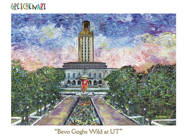 Longhorn Painting - Bevo Goghs Wild At Ut Poster by GretchenArt FineArt