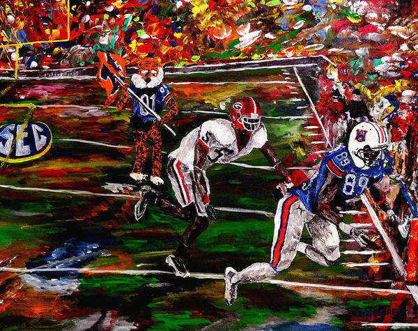 Wall Art - Painting - Beware Of The Tiger - Auburn Vs Georgia Football by Mark Moore