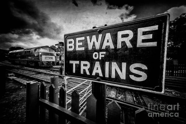 Railway Station Photograph - Beware Of Trains by Adrian Evans