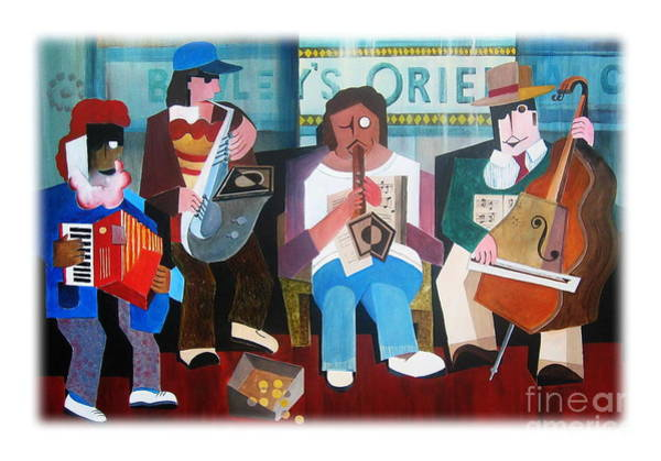 Painting - Bewley's Oriental Cafe Buskers by Val Byrne