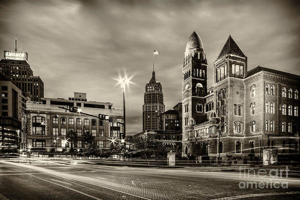 Photograph - Bexar County Courthouse And Tower Life Building Main Plaza In Bw Monochrome - San Antonio Texas by Silvio Ligutti