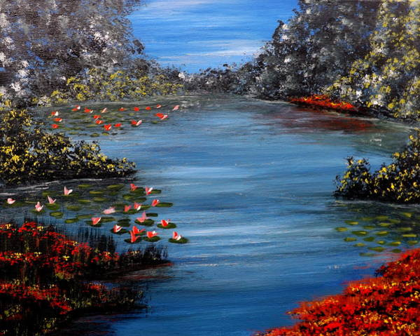 Painting - Beyond The Bridge At Lily Pond by Darren Robinson