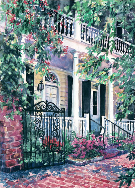 Old South Painting - Beyond The Wrought Iron by Alice Grimsley