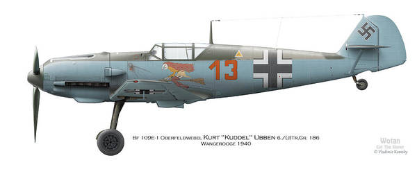World War 1 Digital Art - Bf 109e-1 Oberfeldwebel Kurt Ubben 6./tr.gr. 186. Wangerooge 1940 by Vladimir Kamsky