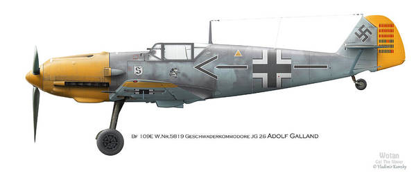 Battle Of Britain Digital Art - Bf 109e W.nr.5819 Geschwaderkommodore Jg 26 Adolf Galland by Vladimir Kamsky