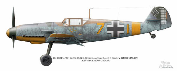 World War 1 Digital Art - Bf 109f-4/r-1 W.nr.13325. Staffelkapitan 9./jg 3 Oblt. Viktor Bauer. July 1942. Nowy-cholan by Vladimir Kamsky