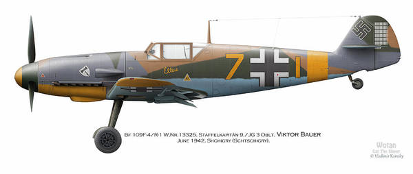 World War 1 Digital Art - Bf 109f-4/r-1 W.nr.13325. Staffelkapitan 9./jg 3 Oblt. Viktor Bauer. June 1942. Shchigry by Vladimir Kamsky