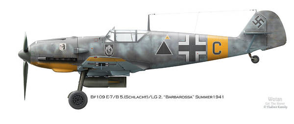 World War 1 Digital Art - Bf109 E-7/b 5.schlacht /lg 2. Barbarossa Summer1941 by Vladimir Kamsky