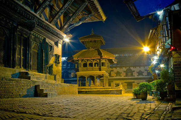 Photograph - Bhaktapur At Night In Old Town Silence by Raimond Klavins