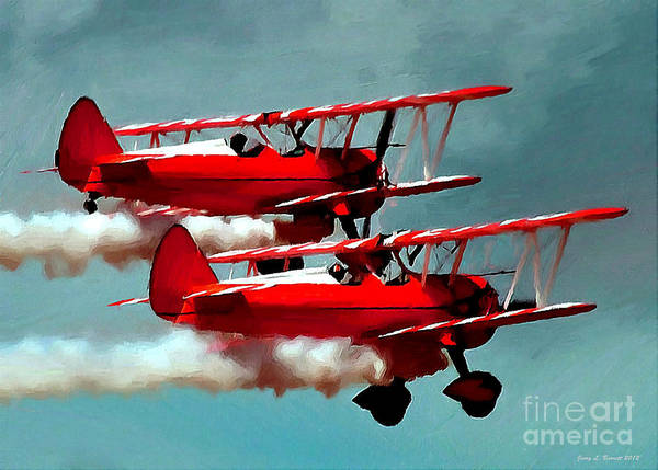Mixed Media - Bi-planes by Jerry L Barrett