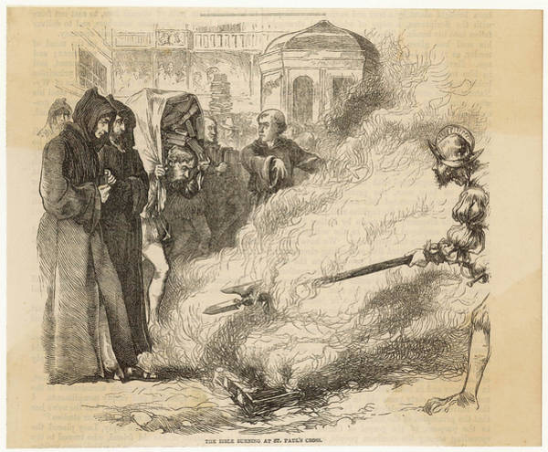 Wall Art - Drawing - Bible Burning During Mary's Reign by Mary Evans Picture Library
