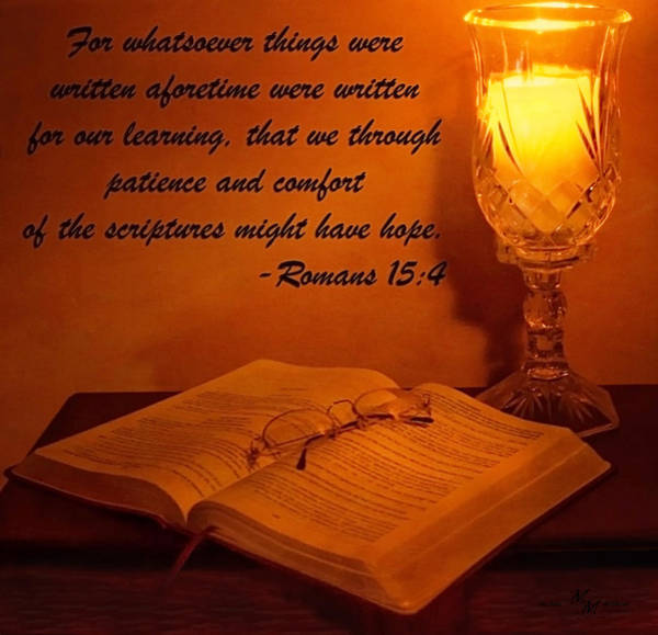 Bible By Candlelight Art Print